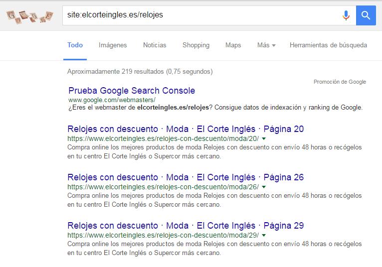 Keyword search relojes Corte Inglés