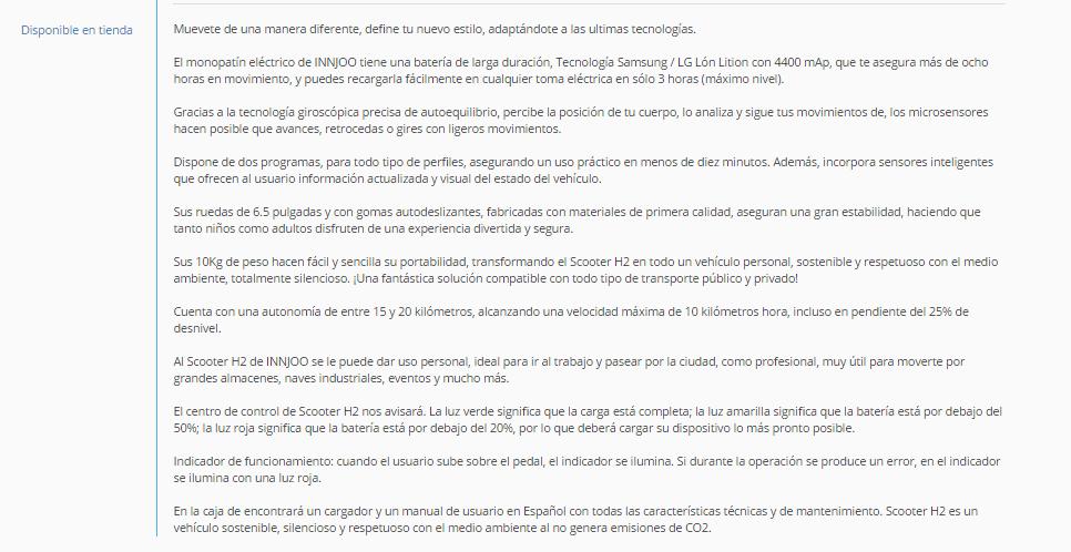 Ficha de producto descriptiva