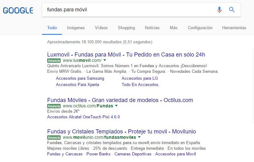 Resultados patrocinados de Google