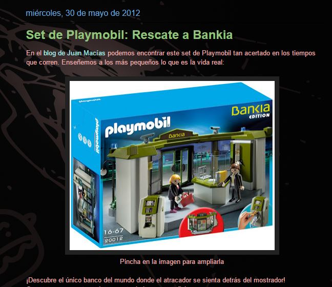 Juguete falso rescate Bankia Playmobil