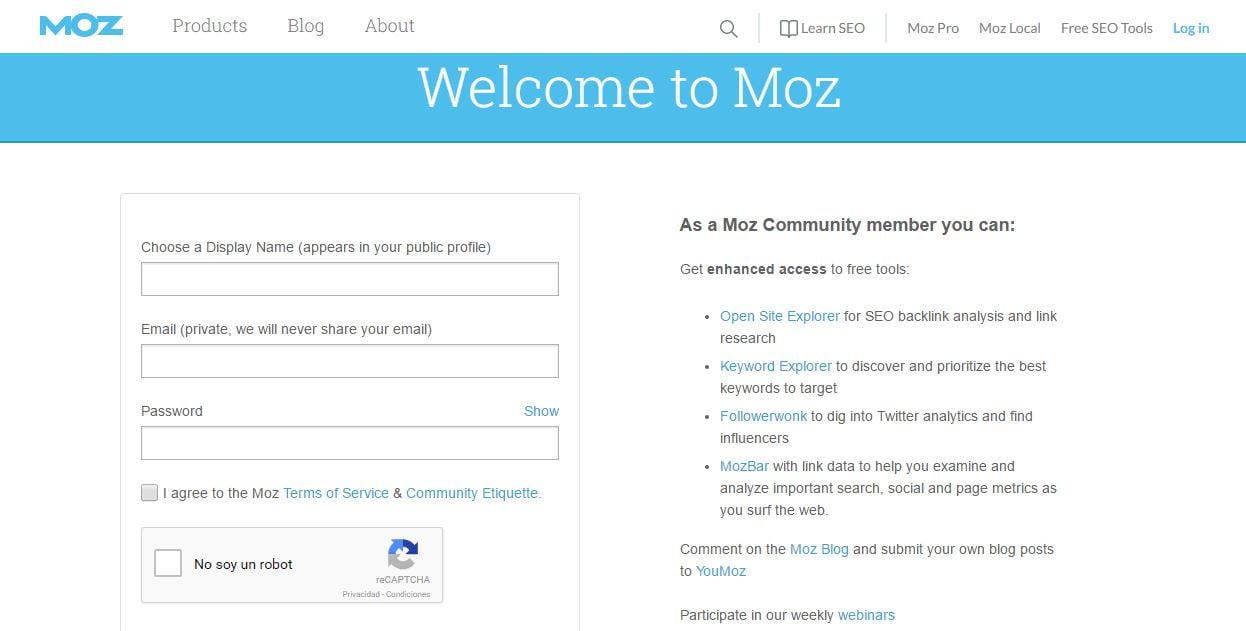 Perfil en la comunidad de Moz