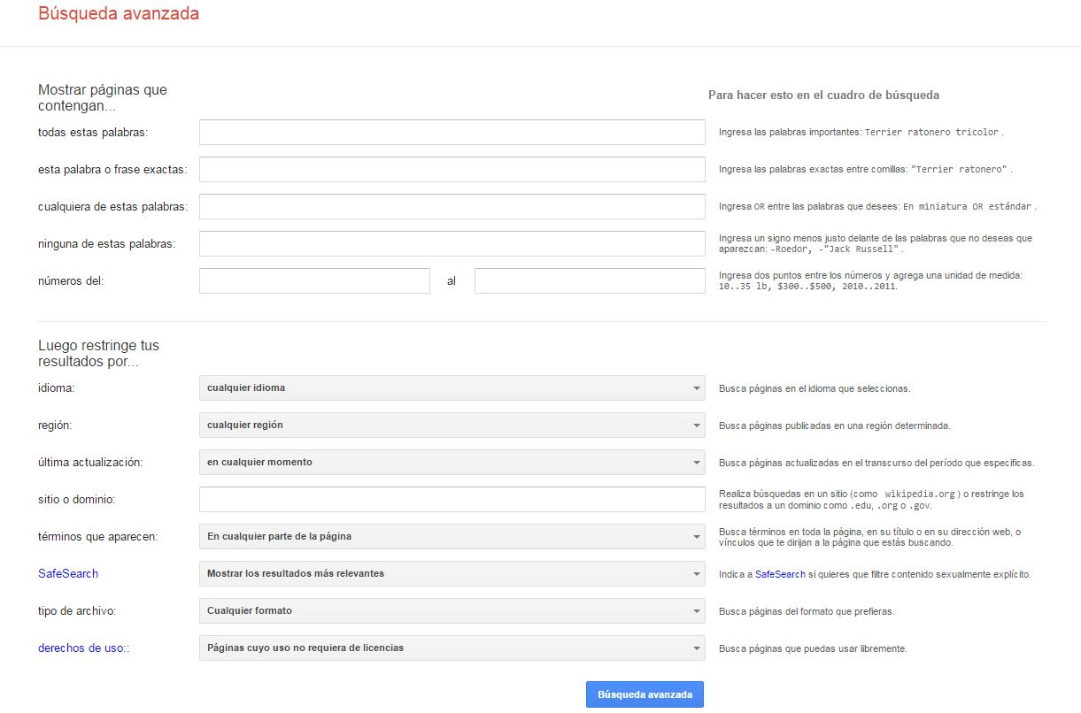 Página de búsqueda avanzada de Google