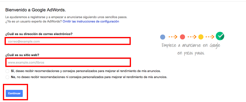 registrarse en adwords