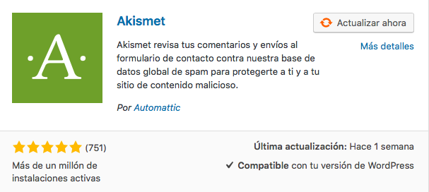 plugin anti spam Akismet