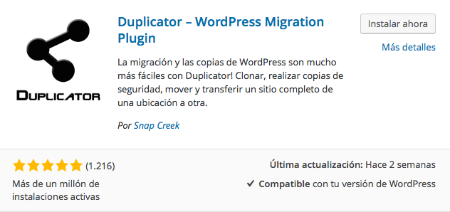 plugin migración duplicator wordpress