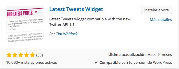 plugin últimos tweets