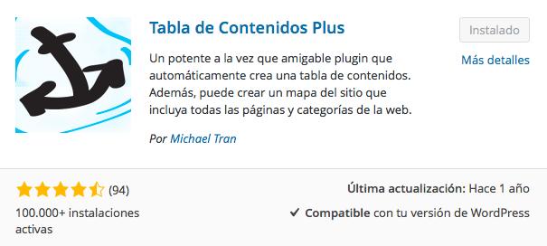 plugin tabla de contenidos
