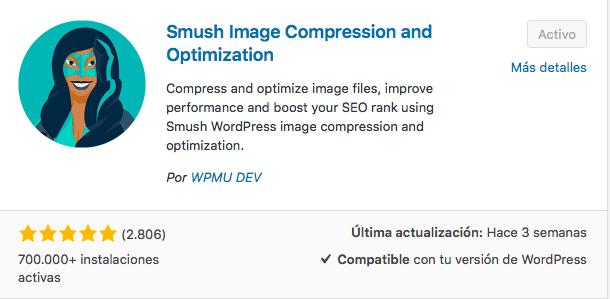 plugin Smush comprimir imágenes