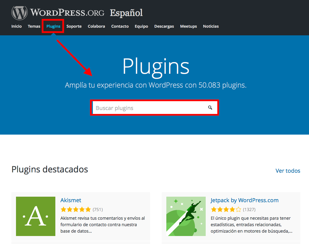 buscar plugins en wordpress.org