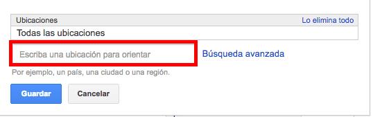 segmentar ubicaciones keyword planner