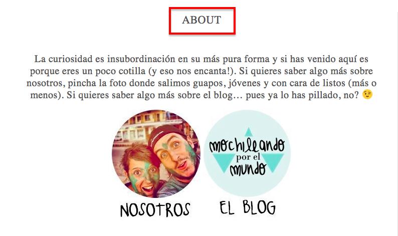 """ejemplo de página de """"sobre nosotros"""""""