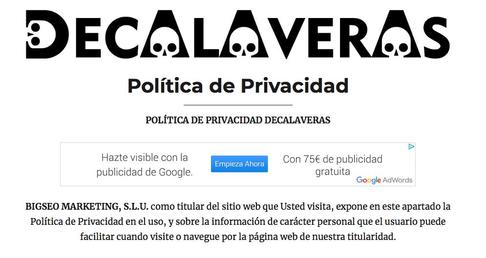 ejemplo de página de política de privacidad
