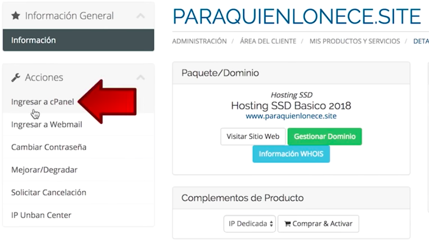 acceder a CPanel hosting