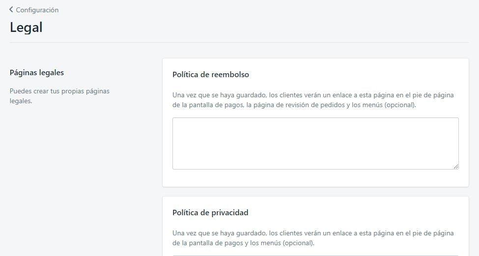 Crear paginas legales en Shopify