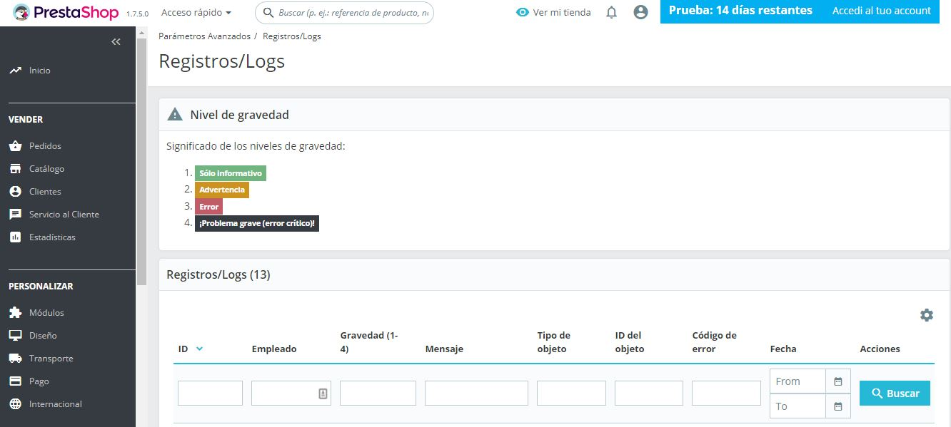 Registros logs prestashop ready
