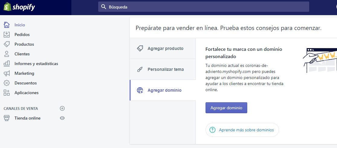 agregar dominio shopify