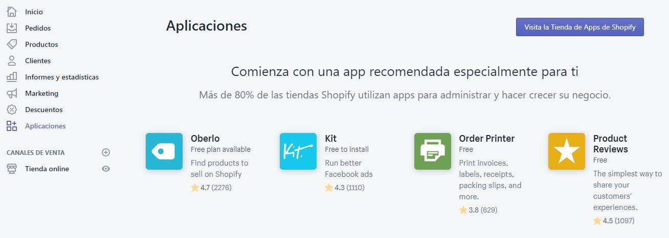 aplicaciones de shopify