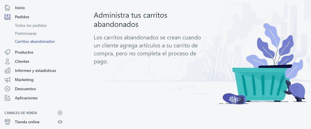 carritos abandonados shopify