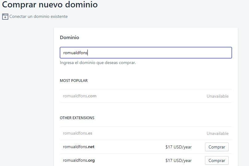 comprar nuevo dominio desde shopify