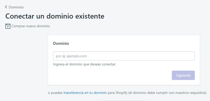 conectar o transferir dominio en Shopify