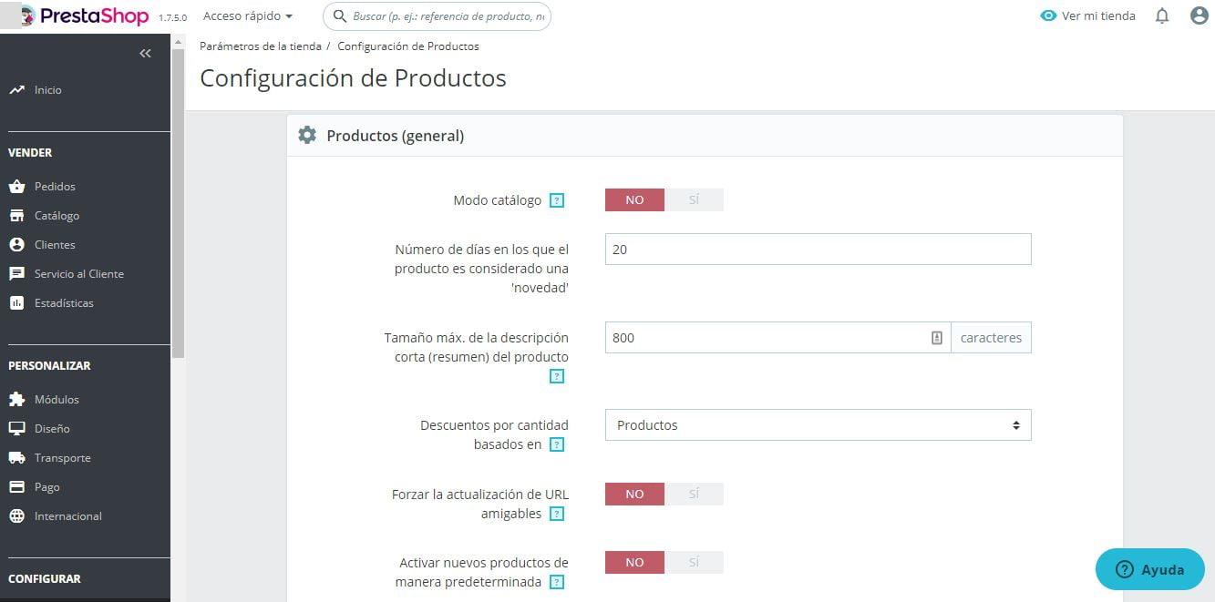 configuracion de productos prestashop ready