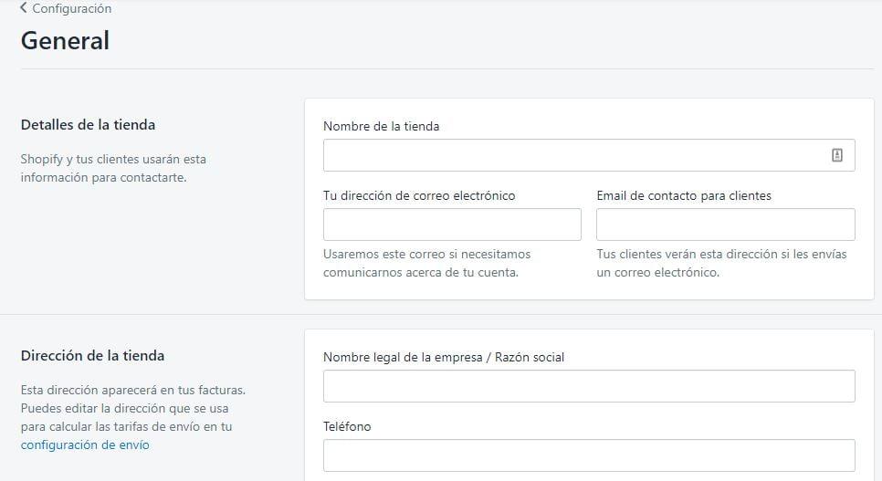 configuracion general de shopify