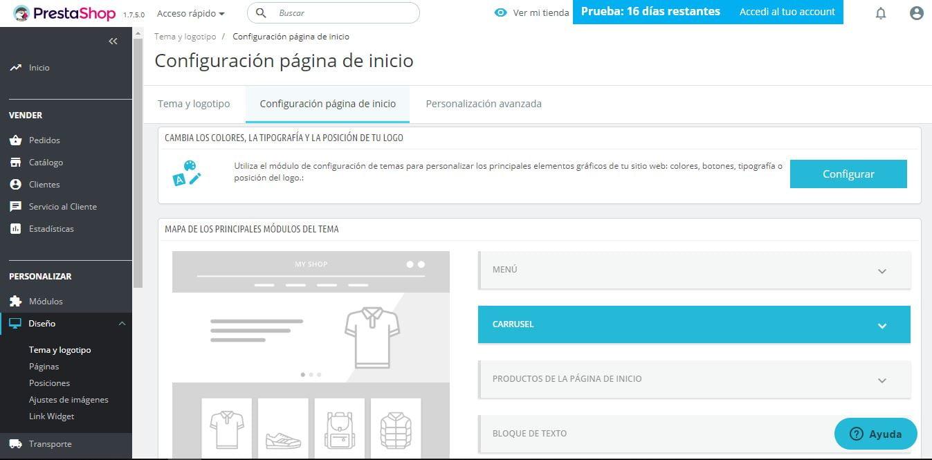 configuracion pagina inicio Prestashop Ready