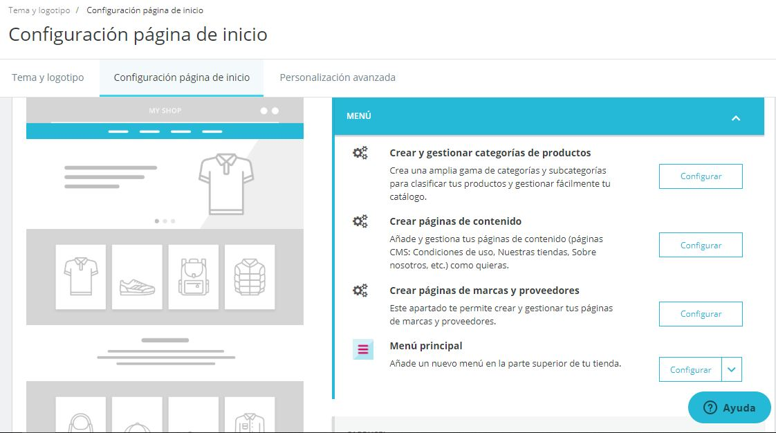 configurar menu prestashop ready