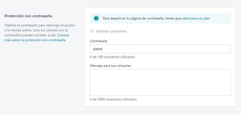contraseña web Shopify
