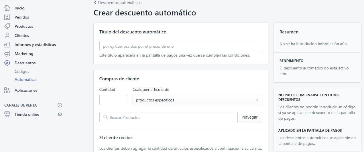 crear descuentos automaticos en shopify