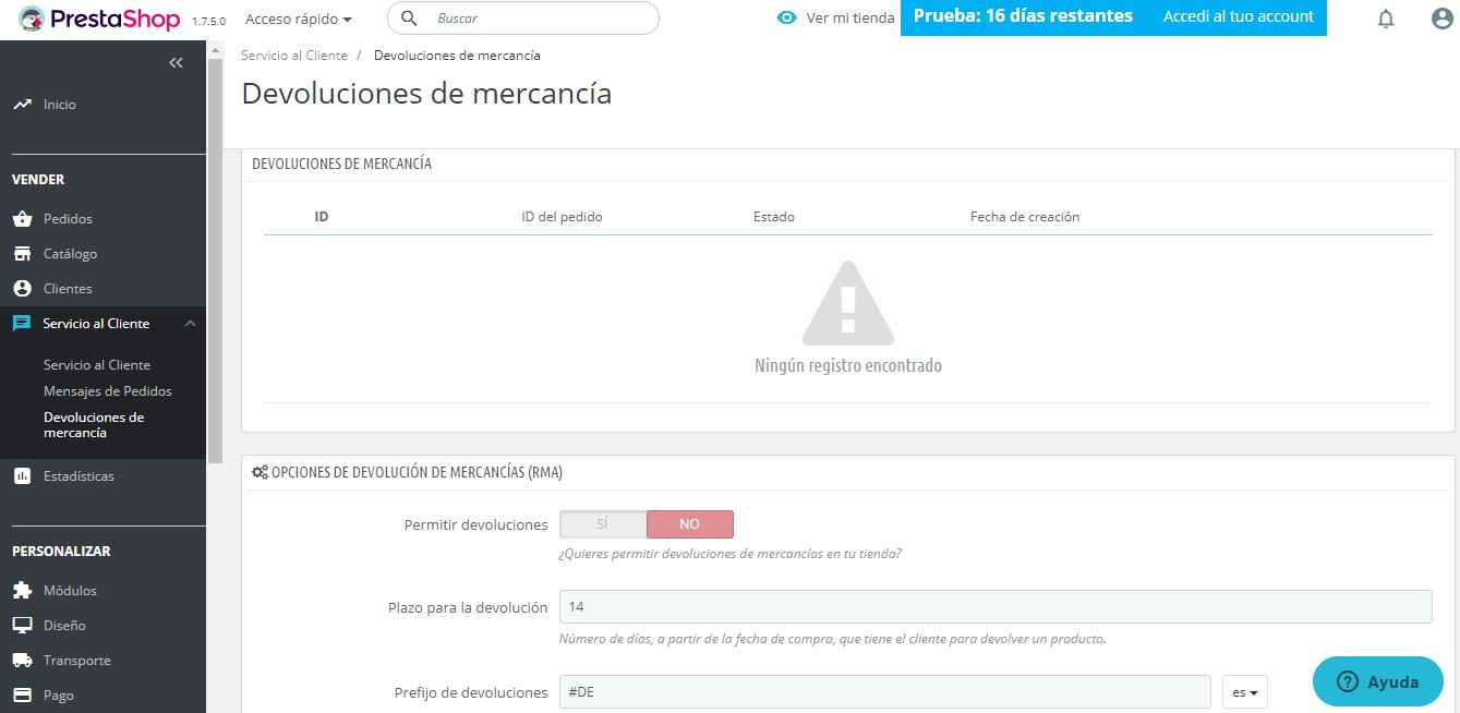 devoluciones de mercancia prestashop ready