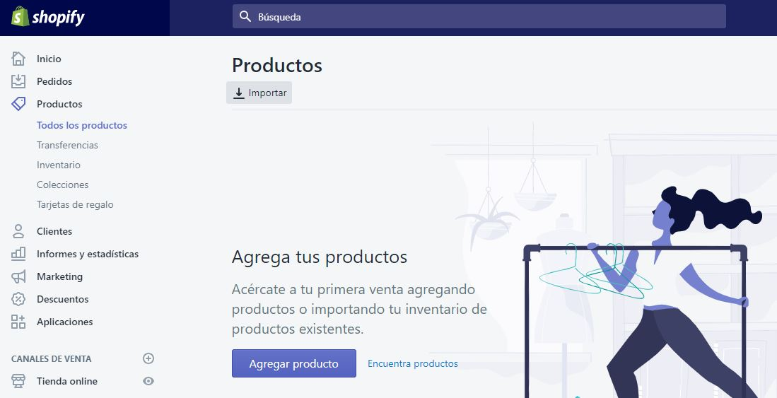 encontrar productos shopify