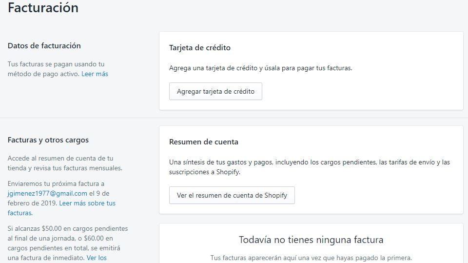 facturacion en Shopify