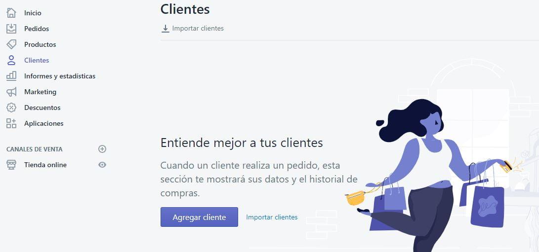 gestión de clientes en Shopify