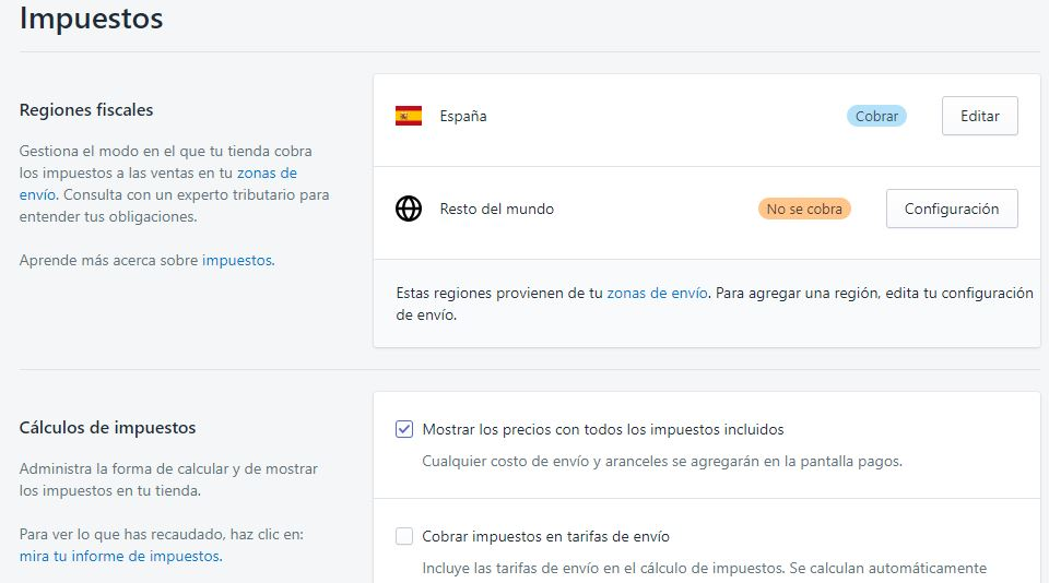 gestion de impuestos con shopify