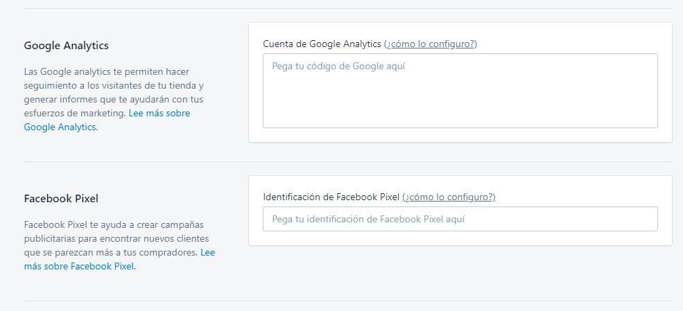 insertar codigo de analytics y facebook pixel en shopify