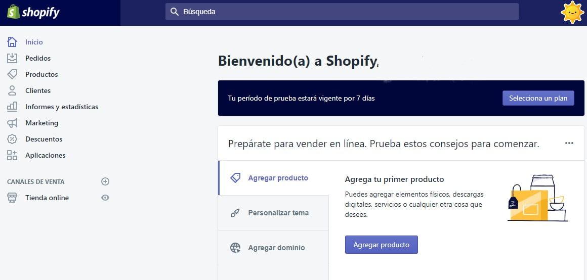 panel de Shopify