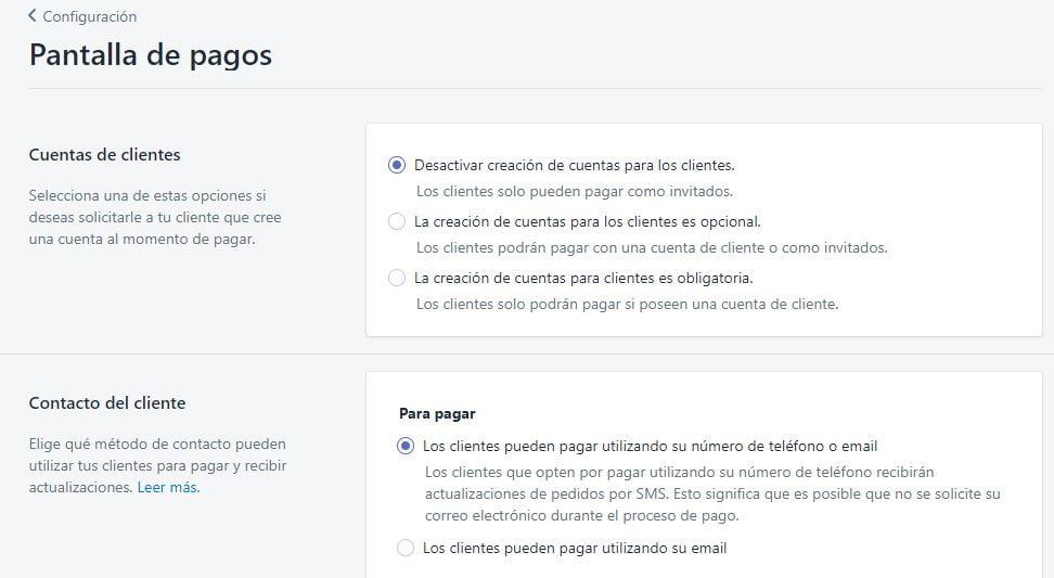 pantalla de pagos shopify