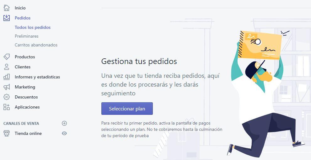 gestión de pedidos en Shopify