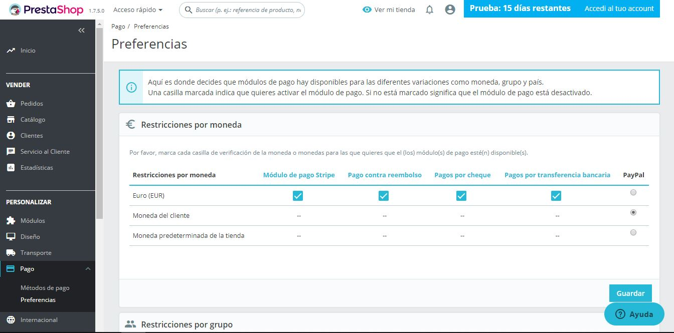 preferencias pago prestashop ready