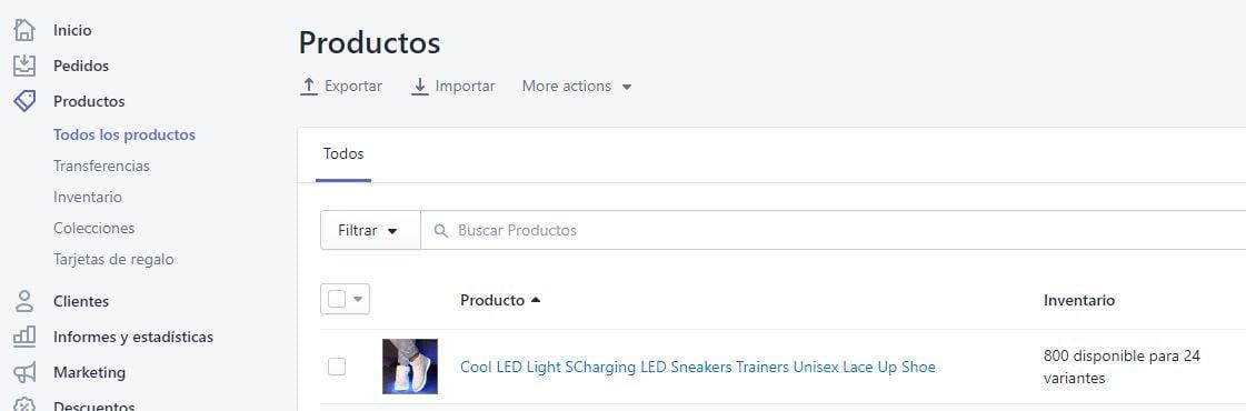 productos importados en shopify
