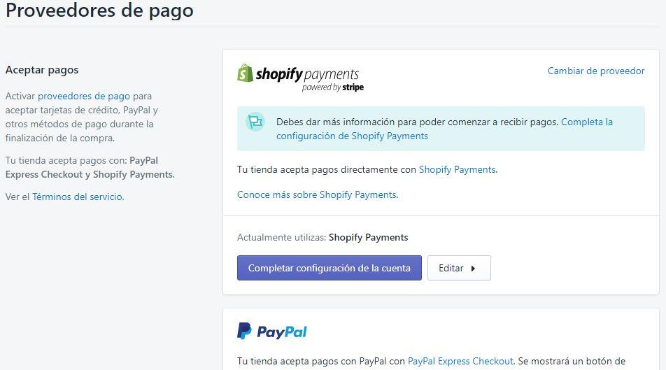 proveedores de pago shopify
