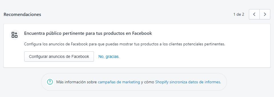 recomendaciones de marketing en Shopify