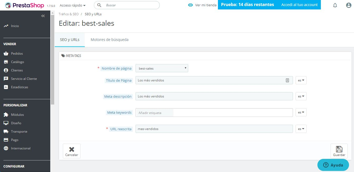 seo en prestashop ready