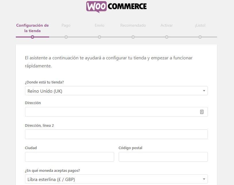 asistente configuracion woocommerce