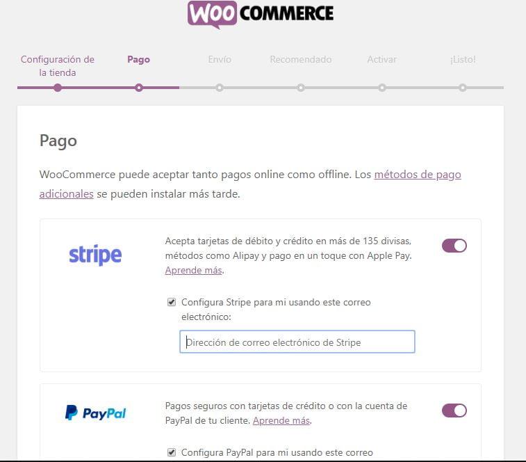 métodos pago woocommerce