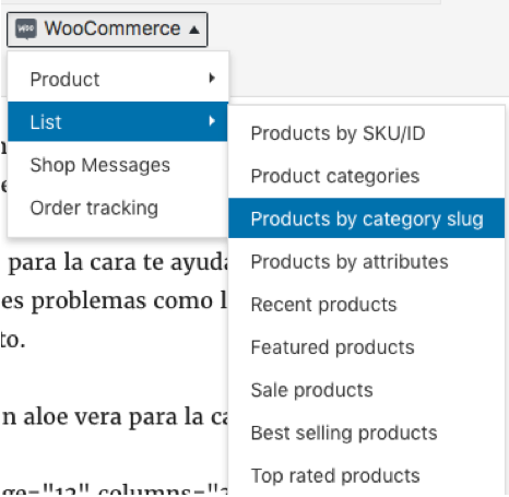 shorcodes plugin woocommerce