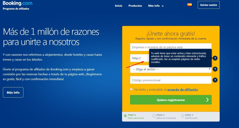 registrarse en booking afiliados paso 2