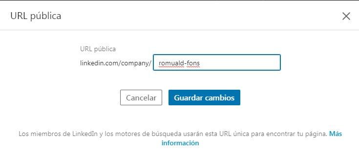 cambiar URL del perfil de empresa en Linkedin