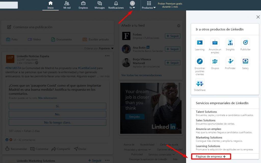 paso 1 para crear empresa en Linkedin